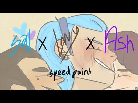 sal x larry x ash speedpaint (sally face)