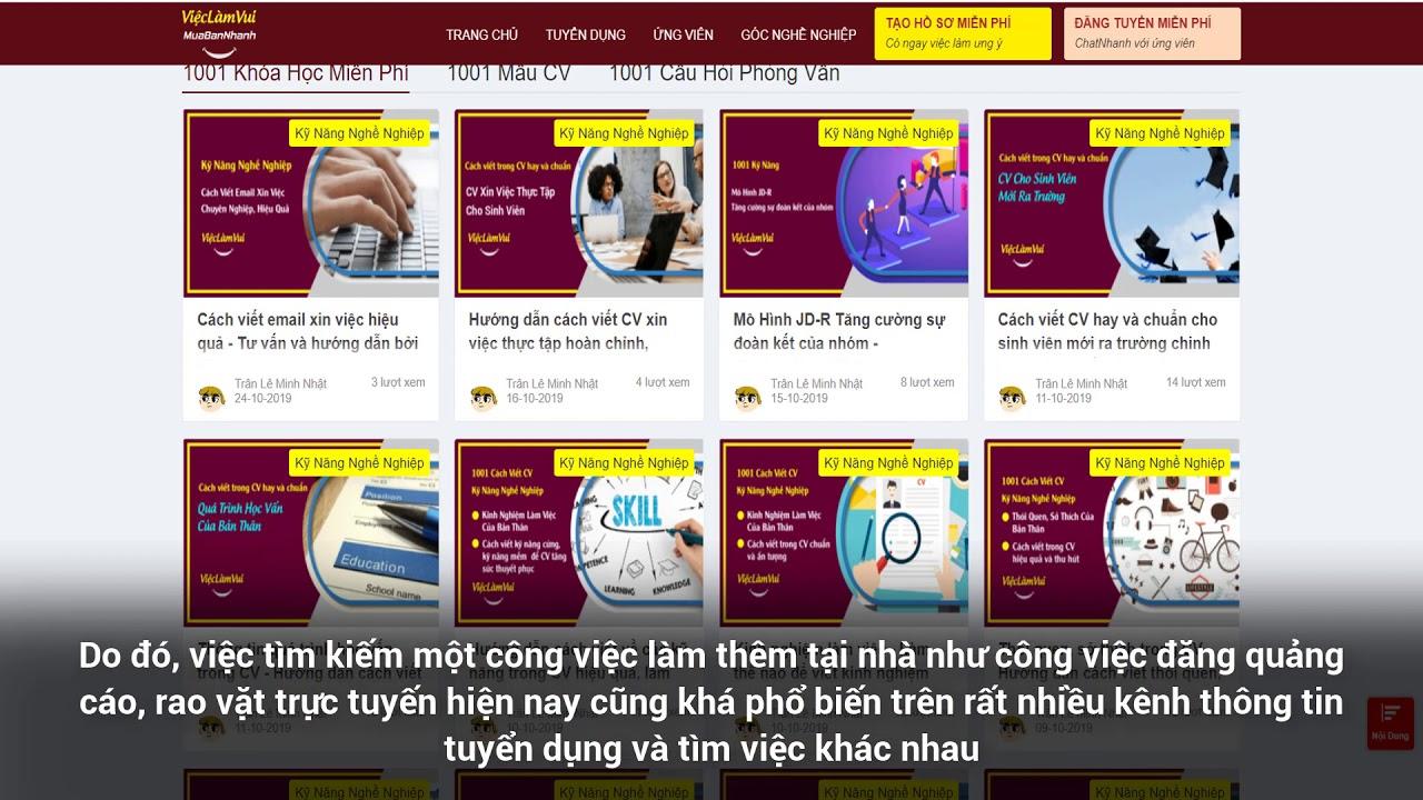 Việc làm đăng quảng cáo, rao vặt tại nhà ➽ 1001 Việc Làm Thêm Tại Nhà ViecLamVui
