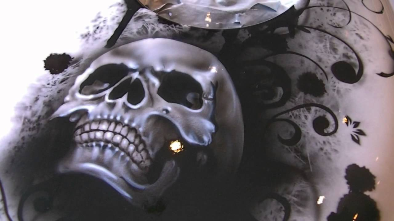 Motorradtank Black And White Skull Airbrush Design Und