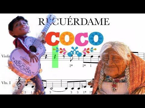 Recuérdame - Coco - partitura para violín. Remeber me score for violin.