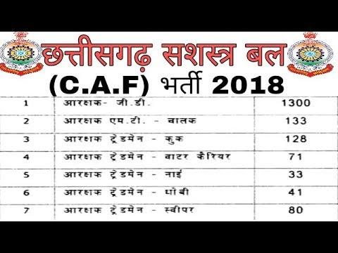 छत्तीसगढ़ सशस्त्र बल (C.A.F.) 1786 पदों पर भर्ती 2018 | C.G. C.AF. Recruitment 2018
