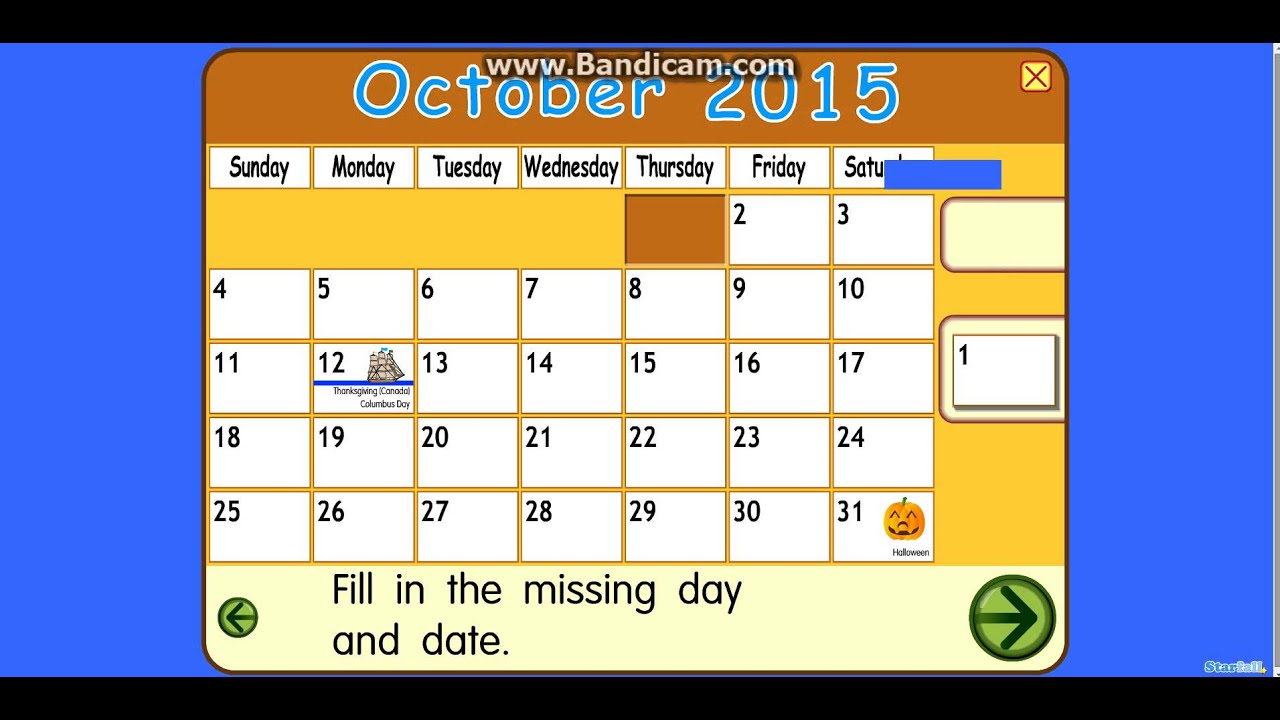 Starfall Calendar 2015 October 2015 is here - youtube