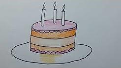 Belajar Menggambar Kue Ulang Tahun Dan Mewarnai Untuk Anak