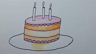 cara menggambar kue ulang tahun dengan mudah menggunakan pensil warna