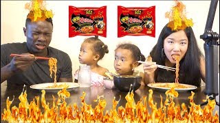 NUCLEAR FIRE 2x Spicy Ramen Noodle Challenge!(Kids tried it, too!) Mukbang Eating Show 핵불닭볶음면 외국인 먹방