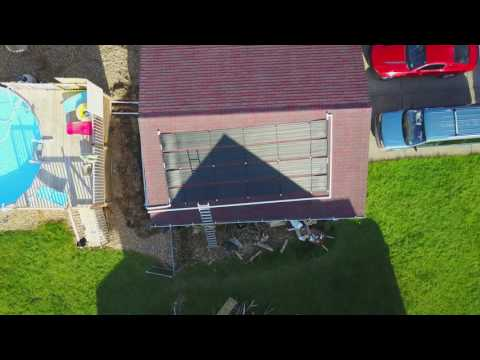 Aerial Video of Intex Ultra Frame 18 foot pool and SolarHeater Panels