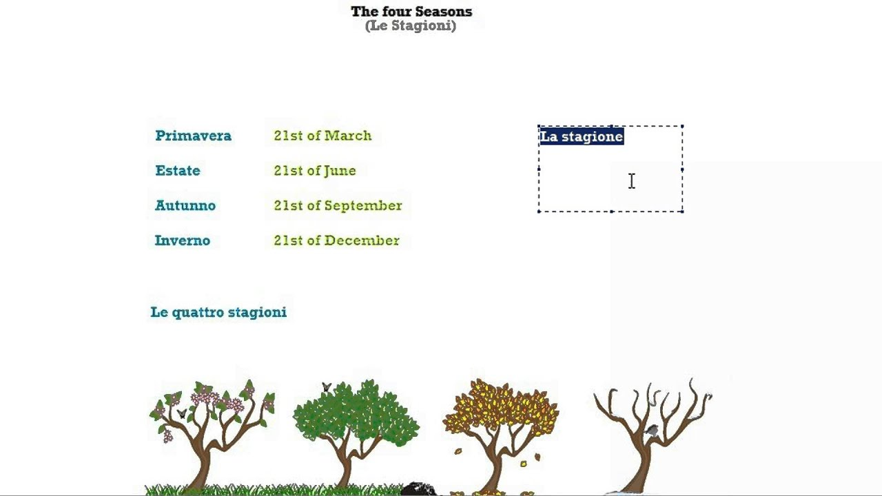 Italian Course Beginner Series 9: The 4 Seasons