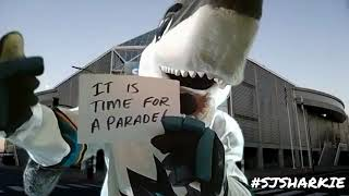 Sharkie can't wait for the Virtual Parade!
