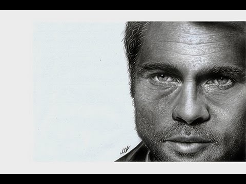 Hyperrealistic pencil drawing of Brad Pitt ( portrait speed art )