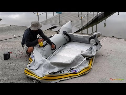 Tips + Tricks launching AL floor inflatable boat with the DIY transom launching wheels.