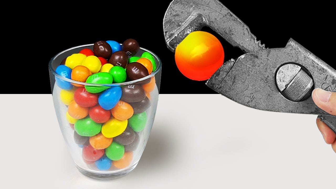 EXPERIMENT: Glowing 1000 Degree Metal Ball VS M&M's