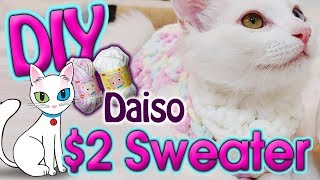 DIY $2 Crochet Sweater for your Cat with Chenille Yarn from Daiso
