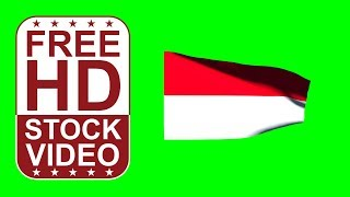 FREE HD video backgrounds – Indonesian flag waving on green screen 3D animation