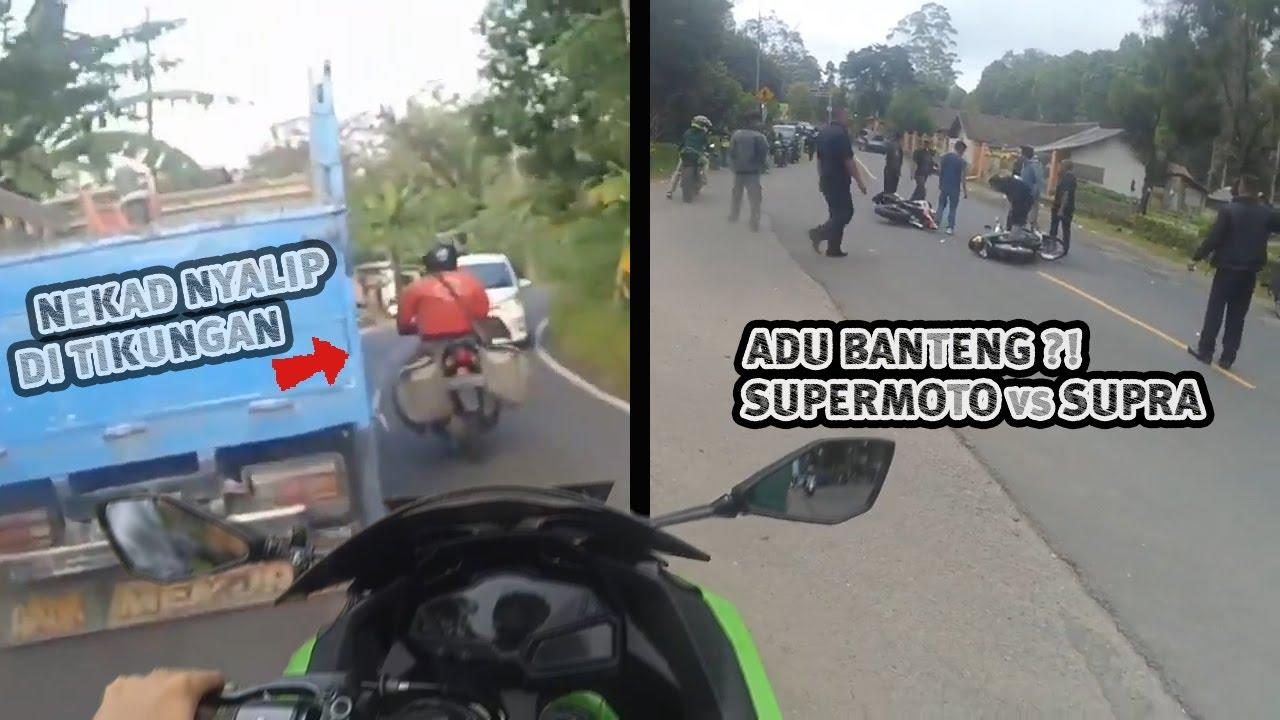 Bapac Nekat Nyalip Di Tikungan - Supermoto vs Supra - Rem Blong Sampe Tabrak Trotoar || RH #56