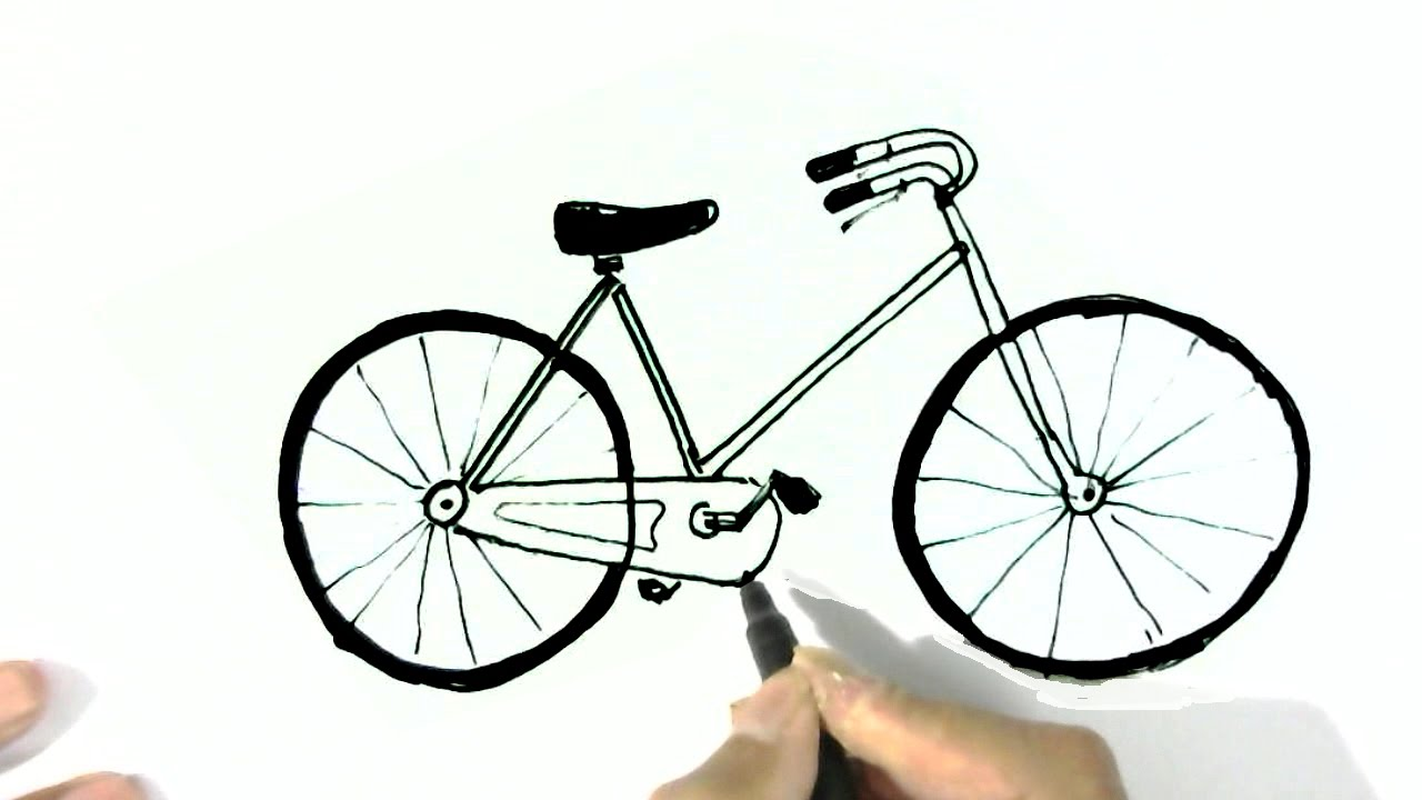 how to draw a bicycle in easy steps for children beginners