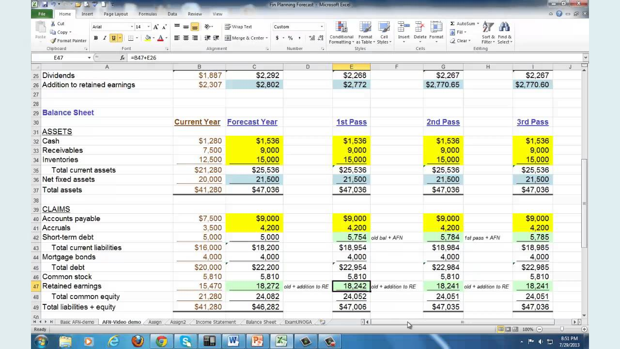 Financial Planning & Forecasting - Spreadsheet Modeling