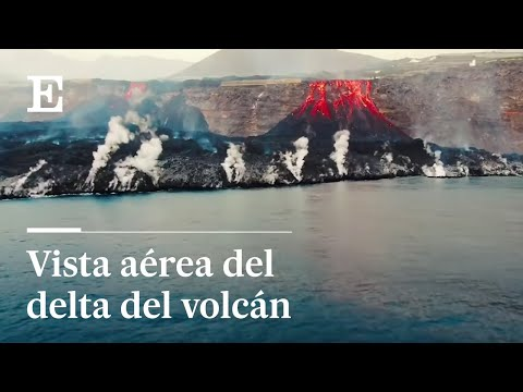 #LAPALMA   El delta del volcán, visto desde un dron del CSIC