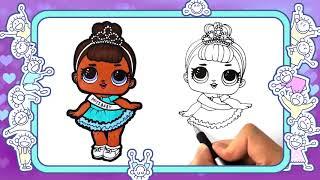 Как нарисовать куклу lol Miss Baby. Веселые раскраски. видео для детей. lol dolls