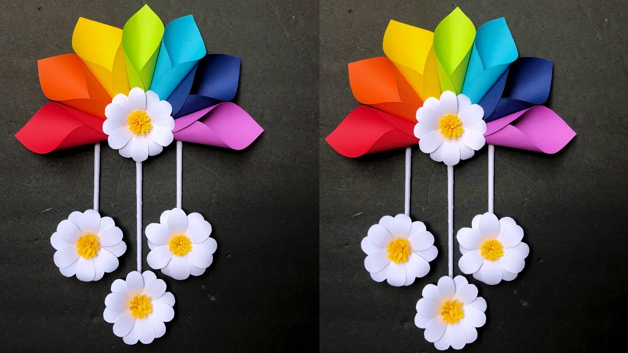 Paper Flower Wall Hanging Easy wall Decoration Ideas Paper Craft