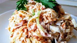 Салат из блинов Цыганка готовит. Салаты с омлетом и ветчиной. Gipsy kitchen.