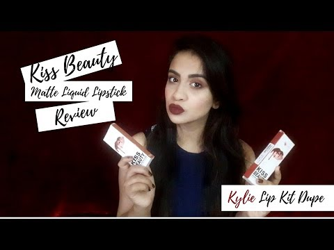 kiss-beauty-matte-liquid-lipstick-review kylie-lip-kit-dupe