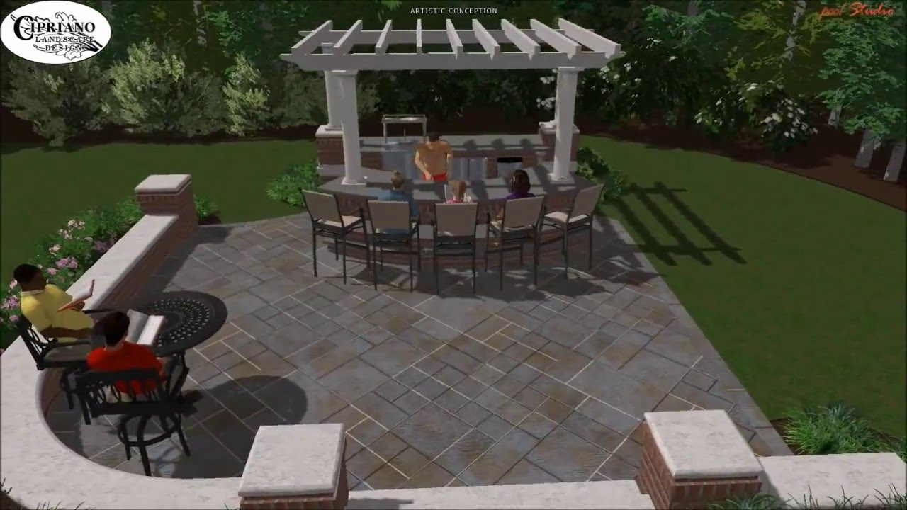 Saddle River NJ Outdoor Kitchen Bar Design - YouTube
