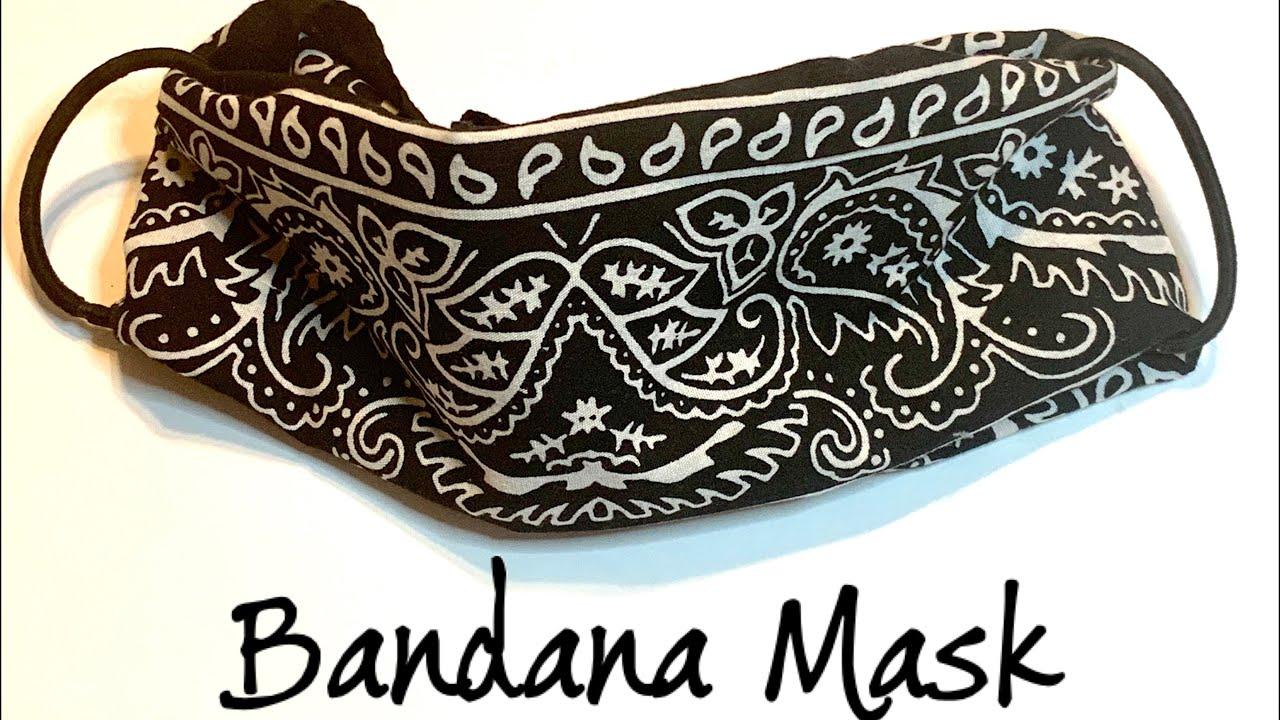 Bandana Face Mask  with hair ties  No Sewing DIY