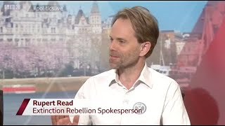 Extinction Rebellion spokesperson Dr. Rupert Read sets Government Minister straight, live on-air