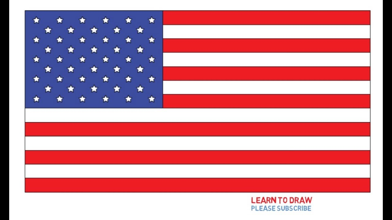 How To Draw The United States Flag Step By Step Easy Youtube