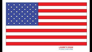 How To Draw The United States Flag Step By Step Easy