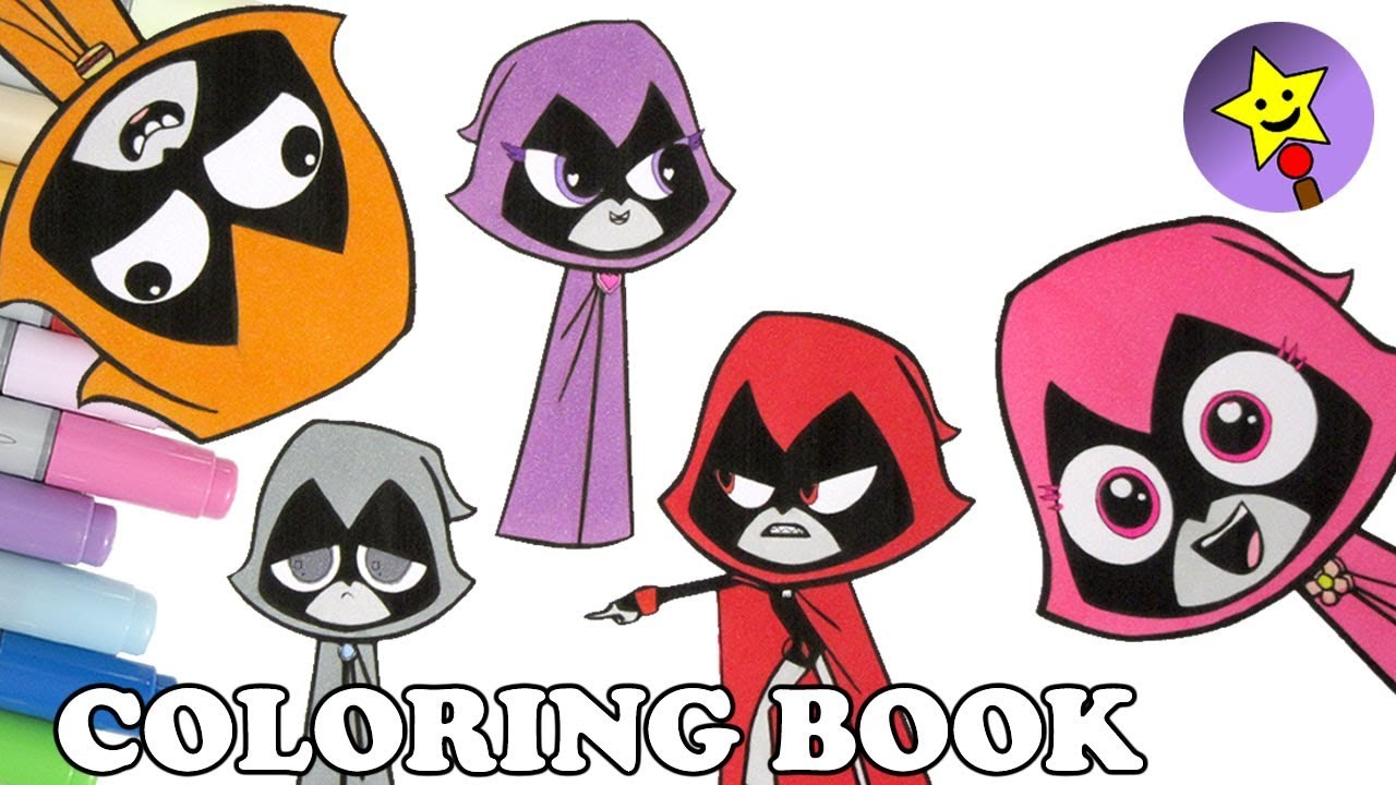 Colors of Raven Coloring Book Page Teen Titans Go Raven Colouring Book Page  Kids Art