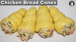 Chicken Bread Cones - Without Oven Bread Cones Recipe - Kitchen With Amna