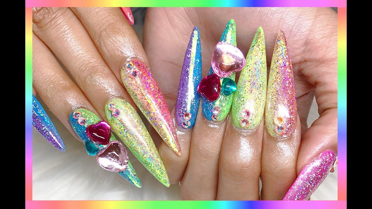 🌈 ♡ Vertical Rainbow Galaxy Holo Acrylic Nails ♡ 🌈 - YouTube