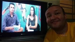 Erivando Lima no gula e Narcélio Francelino acompanhando a programação da TV Jaguar