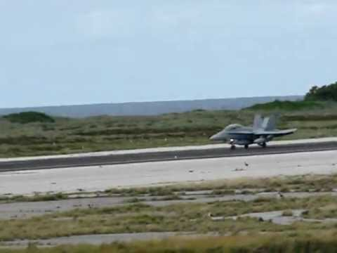 USMC FA 18 landing Midway Atoll NWR Henderson Field Aug 2 2012 J Klavitter USFWS
