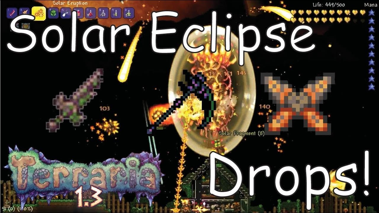 Top 5 Best Solar Eclipse Drops In Terraria Youtube There is an item that takes 7 days to recharge but allows you to skip one night and day (fast forwards to 4:30 am next day) and you get it from fishing. top 5 best solar eclipse drops in terraria