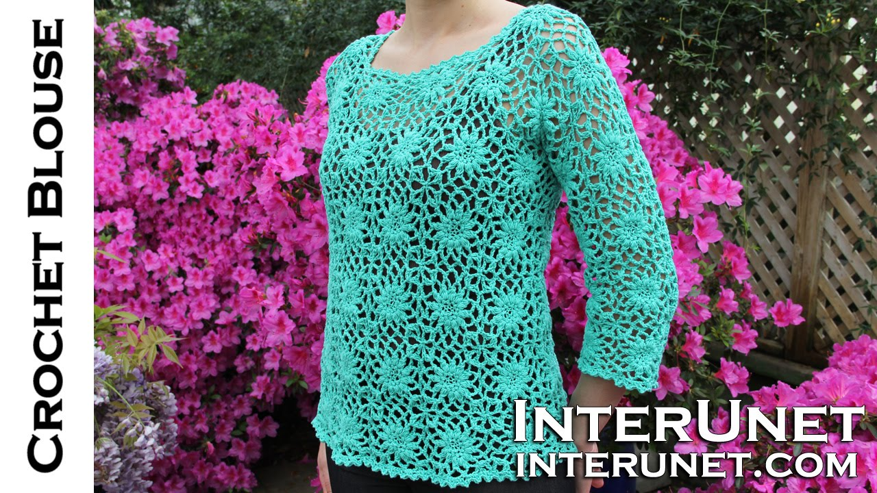 How To Crochet A Womens Square Motif Lace Blouse Youtube