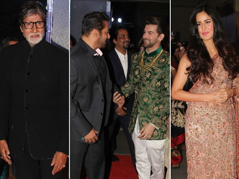 Salman khan,Amitabh ,katrina kaif,Rekha and all bollywood celebrity at Neil Nitin Mukesh Wedding Rec