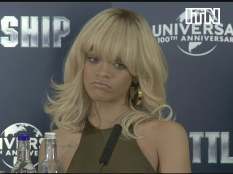 Rihanna answers Ashton Kutcher relationship question at Battleship press conference, London