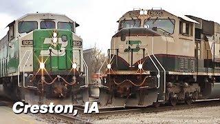 Burlington Northern EMD Locomotives Dominate Action in Creston, IA 2/2/06