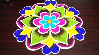 simple and best rangoli for new year 2019 - competition kolam for pongal with 7x4 dots - muggulu
