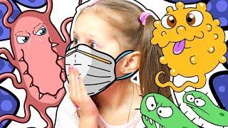 АМЕЛЬКА КАШЛЯЕТ!!! Теперь боится заболеть! Ходит в бахилах, маске и перчатках.