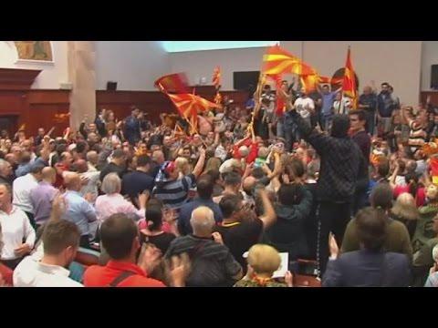 Protesters storm FYROM parliament, attack MPs