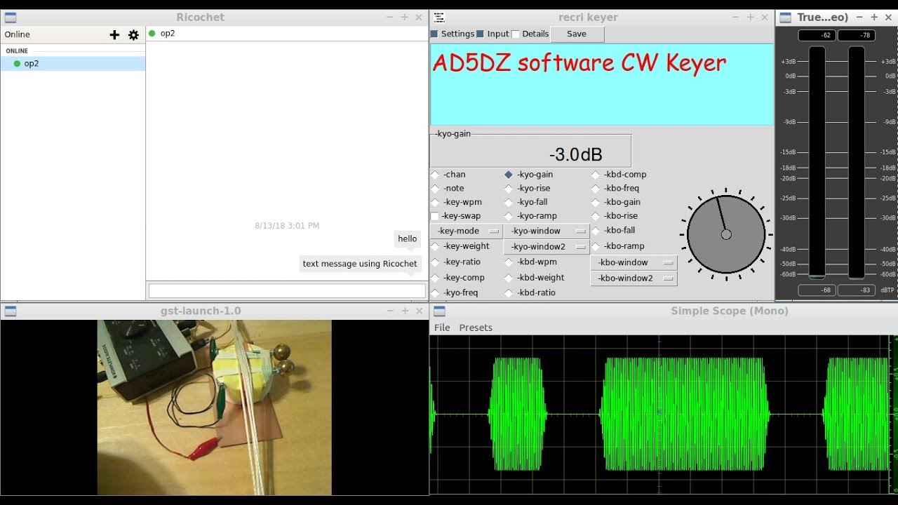 The AD5DZ software CW KEYER - QSO with another AD5DZ CW Keyer OP - over the  internet - LIVE demo