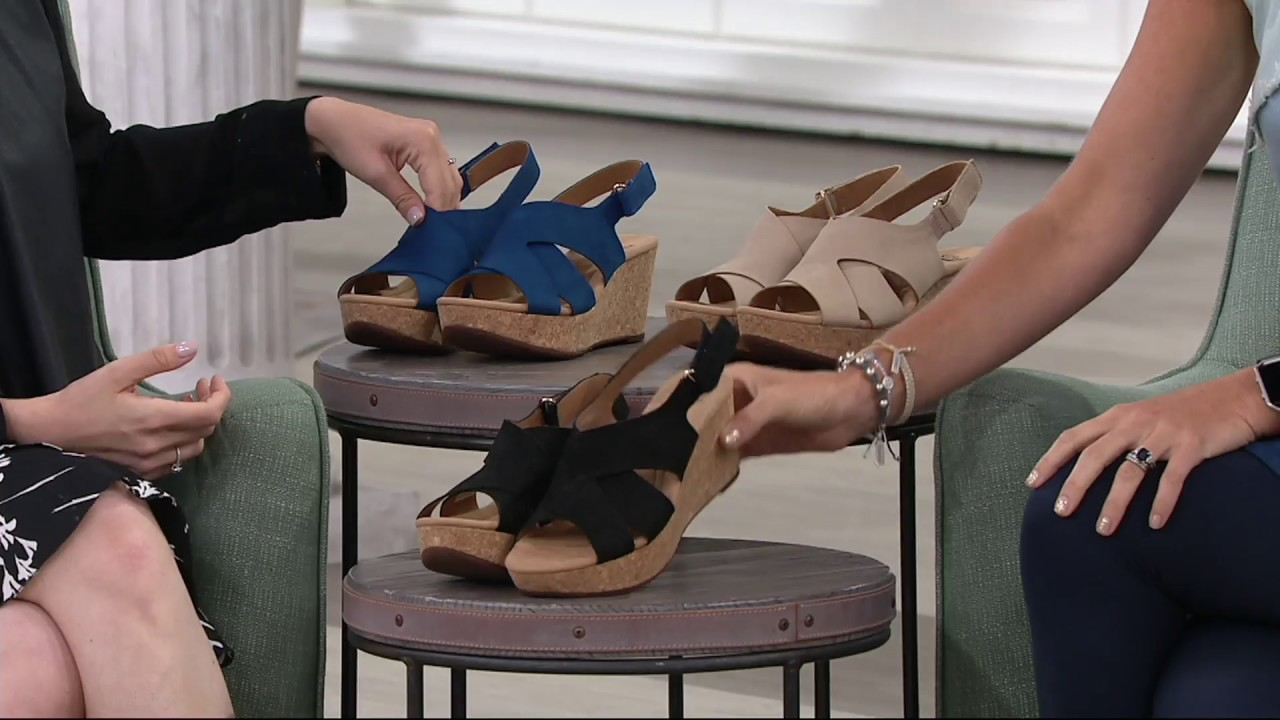 68a366eb461 Clarks Leather Cork Wedge Sandals - Annadel Fareda on QVC - YouTube