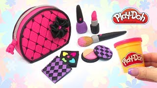 Play Doh Cosmetics Set for Dolls. How to Make Makeup Bag Lipstick Eyeshadow Nail Polish DIY for Girl