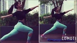 Rubina Dilaik Hot Cleavage At Workout