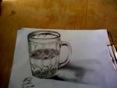 Lukisan pensil Ilusi mata gelas berisi air 3DD xxx