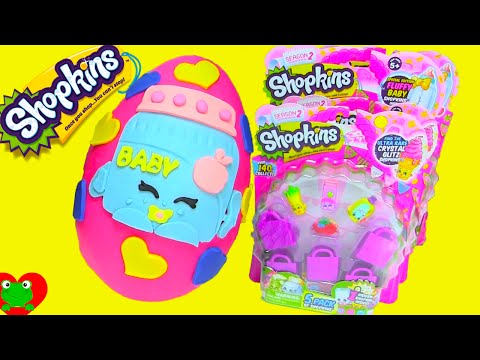 Shopkins Season 2 Fluffy Baby Ga Ga Gourmet Play Doh Surprise Egg 5 and 12 Packs