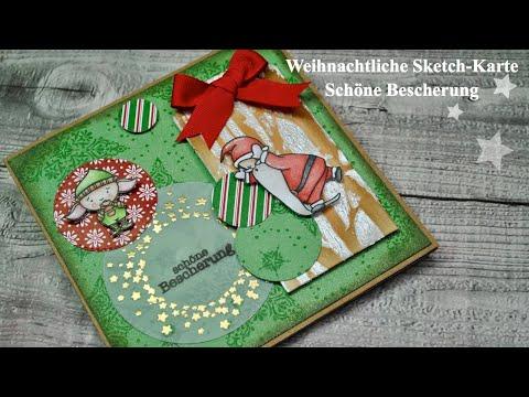 ❄️ Weihnachtliche Sketch-Karte❄️  *Schöne Bescherung* [ Tutorial / deutch] thumbnail
